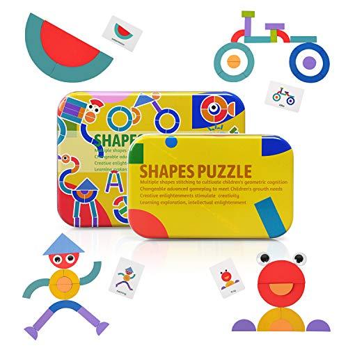 LEADSTAR Rompecabezas de Madera Bloques de Madera, Tangram Puzzle Tangram Madera Shape Puzzle Set 36 Montessori Forma Geométrica Bloques de Patrones + 60 Piezas Tarjetas de diseño (Amarillo)