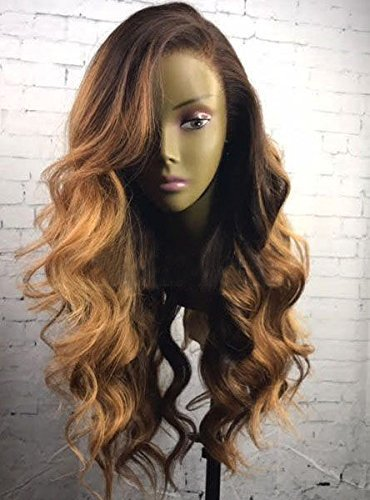 KRN Lace Front Wigs Human Hair Wigs Brazilian Loose Wave Ombre Color Wigs For Black Women (16 Inch, Lace Front Wig)