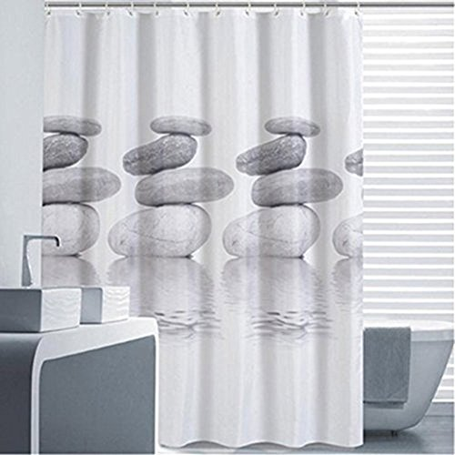 Goldbeing Duschvorhang 180x200 Textil Grau Pebble Schimmelresistenter und Wasserabweisend Shower Curtain mit 12 Duschvorhangringen (180 * 200cm)