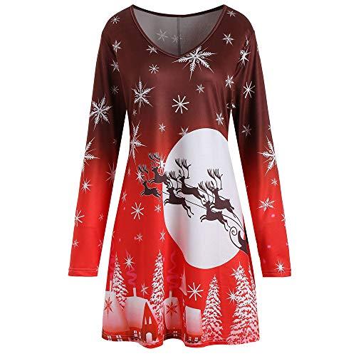 VEMOW Heißer Elegante Damen Abendkleid Vintage Weihnachten Santa Gedruckt Kostüm A-Line Lose Beiläufige Tägliche Party Schaukel Kleid(X8-Rot, 42 DE / 2XL CN)