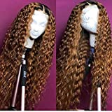 Andria Curly Hair Lace Front Wigs Dark Root Ombre Red Brown Color Two Tone Synthetic Long Wigs Heat Resistant Fiber Hair for Black Women 24 Inch Honey Blond Wigs