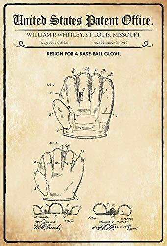 NWFS patent ontwerp voor een baseball - handschoen metalen bord bord metalen plaat metaal tin teken gewelfd gelakt 20 x 30 cm