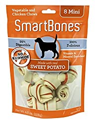 Safe and rawhide free Great taste; made with real; dried chicken breast Chewing activity promotes healthy dental care First chew of its kind to be fortified with vitamins and minerals Suitable for mini dog breeds up to 10-pounds