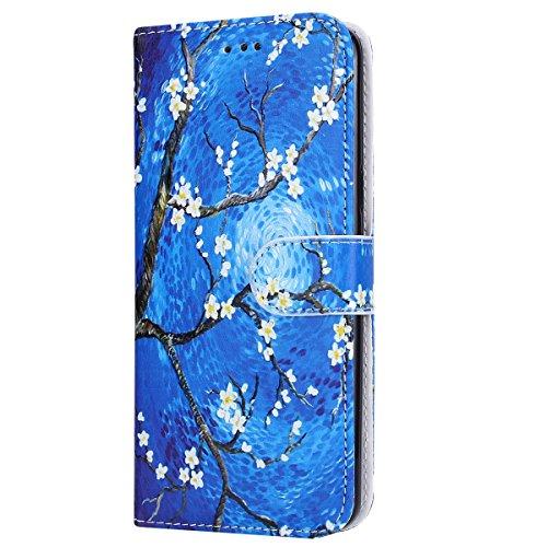 ISAKEN compatibile con Samsung Galaxy S9 Cover - Libro Wallet Flip Portafoglio Custodia in PU Pelle Sollievo Pattern Anti Slip Caso con Supporto di Stand/Carte Slot/Chiusura - Blu fiori