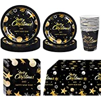 81-Pieces PartyBloom Christmas Decorations with Disposable Plates and Cutlery Dinnerware Set, Santa Claus Party Supplies for 20 Guests
