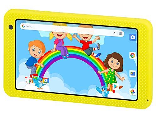 Trevi KIDTAB 7 S03 Tablet per Bambini CERTIFICATO GOOGLE GMS con Sistema Operativo Android OREO 8 GO, Display TFT IPS da 7 pollici, Internet Wi-Fi, Doppia Fotocamera, Guscio Protettivo Antiurto,Giallo