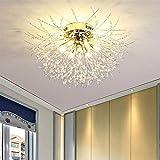 Lámpara de techo de diente de león con cadena de cristal LED, lámpara de techo art decó nórdico...