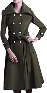 Womens Full-Length Double Breasted Wool Overcoat Lapel Warm Coat