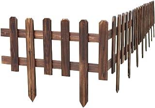 ZHANWEI Garden Edging Border No Dig Brown, Wooden Decorative Garden Fencing, Outdoor Lawn Patio Protective Guard Edging De...