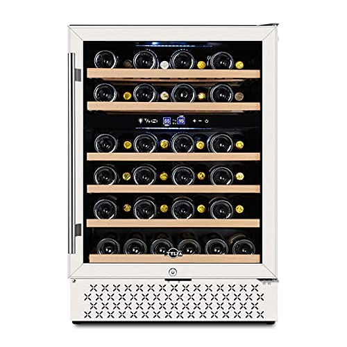 【Upgrade】24 Inch Dual Zone Wine Cooler Refrigerator, 46 Bottle Wine Fridge Under Counter Freestanding and Built-in, Compressor Fast Cooling Low Noise and No Fog for at Home, Office, Kitchen and Bar