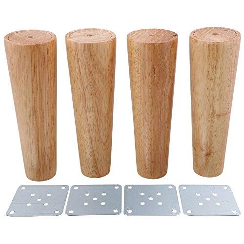 BQLZR - Patas de madera cónicas para muebles (4 unidades), M4170724033