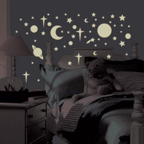 RoomMates Celestial Glow In the Dark Stars Peel and Stick Wall Decals, 258 Count,White