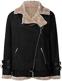 Leomodo Womens Lambs Wool Liner Coat Leather Jacket