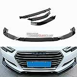 MotorFansClub 3pcs Front Bumper Lip fit for compatible with Audi A4 Sedan 2017 2018 Splitter Trim Protection Spoiler, Carbon Plastic
