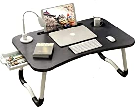Laptop Desk, Bed Table Tray with Tablet Slot and Cup Holder, Folding Lap Desk Table with Storage Drawer, Working from Home...