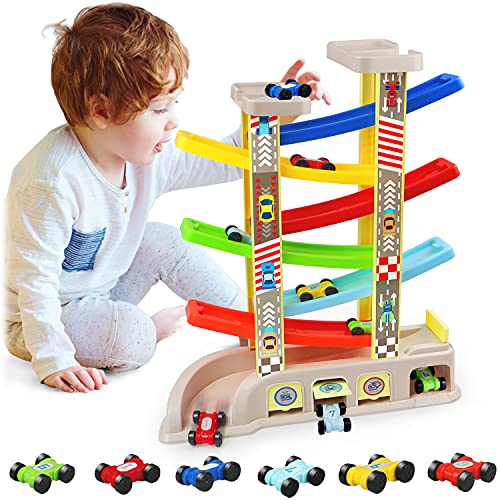 aotipol Montessori Toys for 2 3 Year Old Boys Toddlers, Car Ramp Toys with 6 Cars & Race Tracks, Garages and Parking Lots, Ramp Racer Toy Gift for Boys Girls Age 18 Months and Up