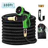 Uverbon Garden Hose Expandable 100ft Water Hose with Solid Brass Connectors, Double Latex Core 9-Pattern Spray Nozzle Strong, Flexible Garden, Lawn, Pet Shower, Plant Watering Hose