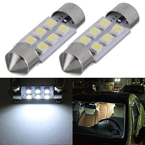 TABEN 36mm 1.41 '' Festoon LED Ampoules 12V 6-SMD 1210 Chipsets 6411 6413 6418 C5W pour Voiture intérieur dôme Carte Porte courtoisie Plaque d'immatriculation lumières Blanc (2pcs)