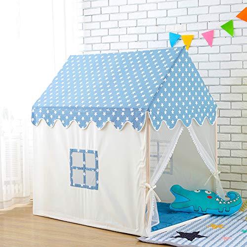 W&HH Spielhaus Kinder, Kinder Spielen Hauszelt Leinwand Aus 100% Natürlicher Baumwolle Großes Schloss Tragbar Spaß Spielt Für Kinder Mit Mat Blue