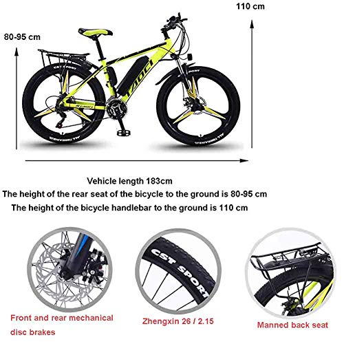 Electric Bikes for Adult, Magnesium Alloy Ebikes Bicycles All Terrain, 26' 36V 350W Removable Lithium-Ion Battery Mountain Ebike, for Mens Outdoor Cycling Travel Work Out And Commuting,Red,13Ah