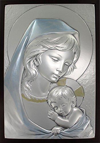 Cuadro de la Virgen María con el Niño Jesús de plata - 29 x 20,5 cm - Bajorrelieve