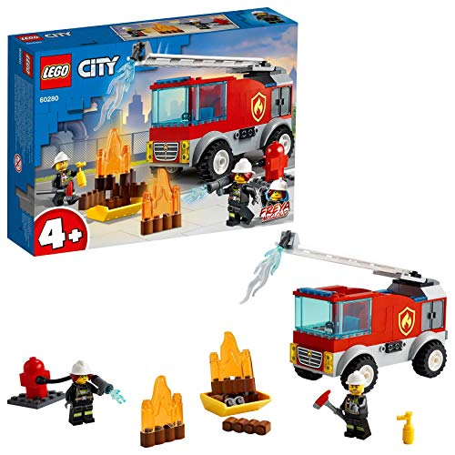 LEGOCityFireAutopompaconScaladeiVigilidelFuoco,PlaysetconMinifigurediPompiereperBambini4+Anni,60280