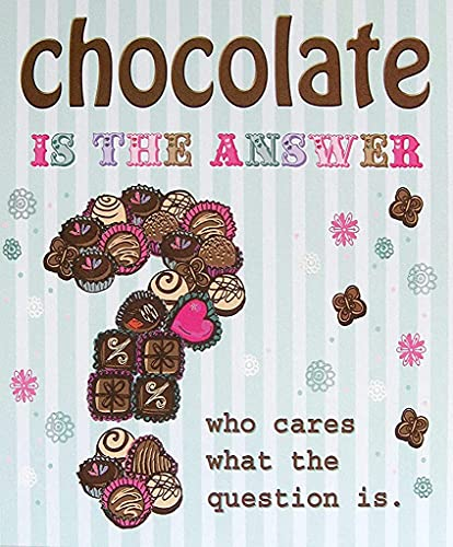 Berryi Letrero de metal con texto en inglés «Make Sure You Get Your 5 a Day with Chocolatechocolate is The Answer Who Cares What The Question is Tin Metal Sign Art 20 x 30 cm