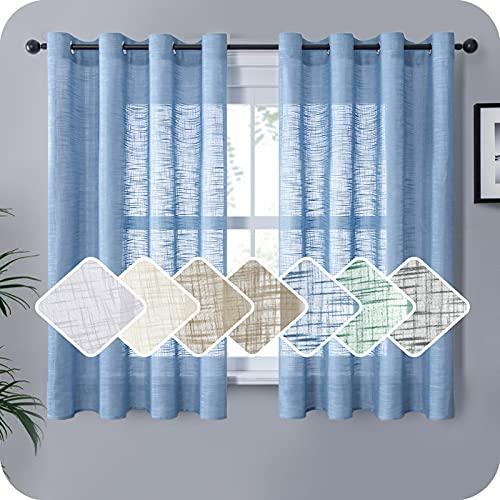 MRTREES Cortinas de Dormitorio Comedor Salon Cocina Habitacion 2 Piezas 140×175cm Visillos Azul...
