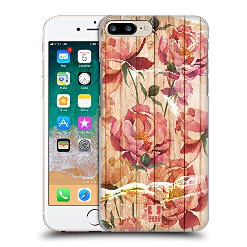 Head Case Designs Peonías Mezcla de Estampados de Madera Carcasa rígida Compatible con Apple iPhone 7 Plus/iPhone 8 Plus