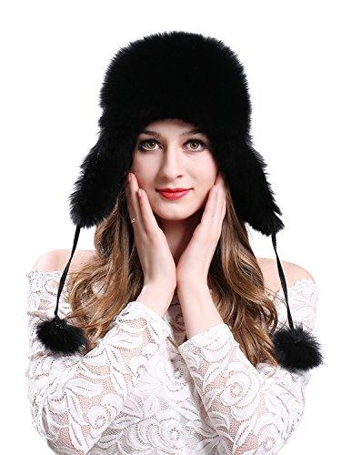 LITHER Women's Winter Trapper Hat Genuine Fox Fur Russian Ushanka Hat Black