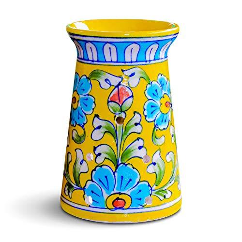 Quemador de aceite esencial de cerámica azul, portavelas para aromate