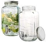 PEARL Wasserspender: 2er-Set Retro-Getränkespender aus Glas, Einmachglas-Look, Zapfhahn...