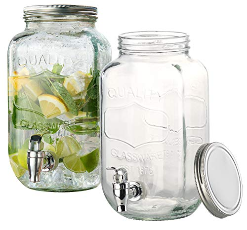 PEARL Saftspender: 2er-Set Retro-Getränkespender aus Glas, Einmachglas-Look, Zapfhahn (Glas mit Hahn)