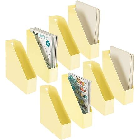 mDesign Juego de 8 clasificadores para revistas, Documentos o Cartas – Revistero archivador de plástico con asa – Sistema Organizador de Documentos Vertical para Oficina – Amarillo Claro