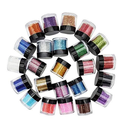 HZWLF Nail Art Tool, 24 Couleurs Nail Glitter Powder Set Fard À Paupières Maquillage Couleur Nail Art Maquillage Décoration Nail Art Pigment