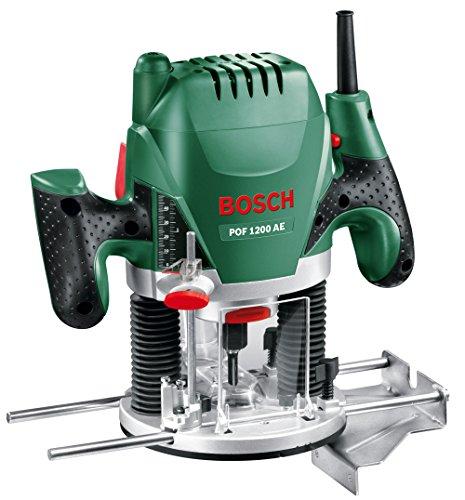 Défonceuse Bosch - POF 1200 AE (Livré avec: Adaptateur d'aspiration , Clé à fourche, Bague de copiage, Fraise à rainurer droit Ø 8 mm, Butée parallèle, 3 pinces de serrage, Pointe de centrag