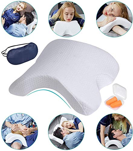ALEVMOOM Cuddle Pillow for Couples Memory Foam Neck Cervical Pillow Cuddling Pillow Arch Tunnel Shaped Design for Arm and Neck Support When Spooning,Great for Travel,Office,Reading and Napping