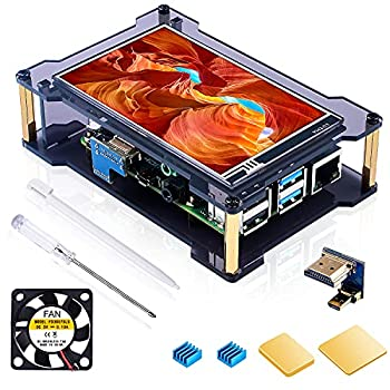 Miuzei Raspberry Pi 4 Touchscreen with Case & Fan 4 inch IPS Touch Screen LCD Display 800x480 HDMI Monitor for RPI 4b 8gb / 4gb / 2gb with Touch Pen Heatsinks Support Raspbian/Kali/Octopi/Ubuntu