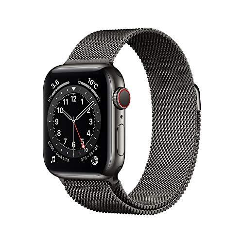 最新 Apple Watch Series 6(GPS + Cellularモデル)- 40mmグラファイトステンレススチールケースとグラファイトミラネーゼループ