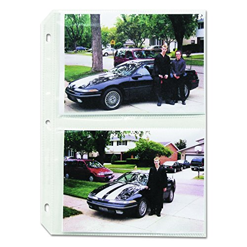 """C-Line Clear Photo Pages for Four 5 x 7 Photos, 3-Hole Punched, 11-1/4"""" x 8-1/8"""" Sheets, Box of 50 (52572)"""