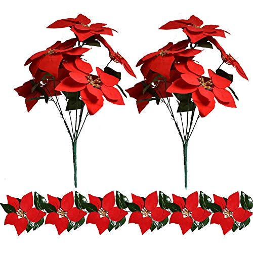 Plobach 2 Bunches Red Poinsettia Christmas Flowers Decorations and 1pcs Artificial Flowers Christmas Garlands for Christmas Ornaments(20 Heads)