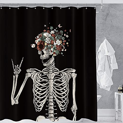 Homewelle Skull Skeleton Gothic Shower Curtain 60Wx72L Gorgeous Sugar Rock and Roll Cute Cool Sugar Funny Hippie Floral Bone Love Scary Magic Waterproof 12 Pack Hooks Polyester Fabric Bathroom Bathtub