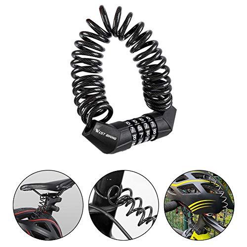 N/Y Helmschloss mit Kabel, Mini-Kombinationskabelschloss Fahrrad Motorrad Sattelschloss Draht 5ft Fahrradfeder Reisegepäckschloss