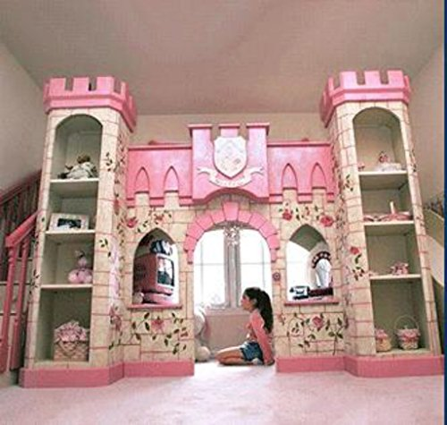 luxury European American style princess castle bed with ladder,slides, book cabinet and play place under