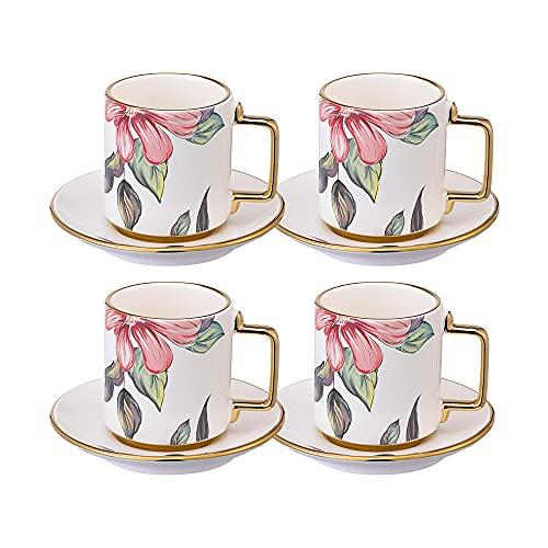Juego de 4 Tazas de Cafe con Platos - Taza Te Porcelana con Flores y Borde Dorado - 200 ml