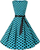 Bbonlinedress 50s Vestidos Vintage Retro Rockabilly Clásico Blue Black Big Dot...