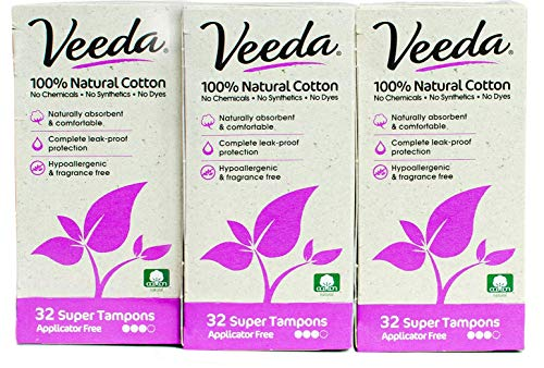 Veeda 100% Natural Cotton Applicator Free Tampons Super Absorbent Comfort Digital Super Tampons Chlorine Toxin and Pesticide free, 3 Packs of 32 Count Each