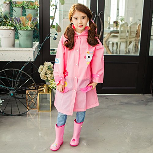 Vestes anti-pluie QFF Child Raincoat Boy Big Hat Waterproof Poncho Student Girl Rain Gear (Couleur : Rose, Taille : S)
