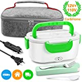 Electric Lunch Box Food Heater - Farochy Heating Lunch Box Heater Portable Microwave Electric Lunch Box 2 in 1 for Car and Home 110V & 12V, Stainless Steel Food Warmer and Heater (Green)