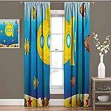 Toopeek - Juego de cortinas opacas (72 x 108 cm), diseño de submarinos, color amarillo y amarillo